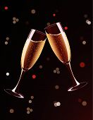 stock photo of champagne glass  - Vector illustration of champagne glasses splashing on holiday background - JPG