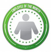 picture of employee month  - ribbon for the employee of the month illustration design over white - JPG