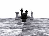 Chess on a path outdoors - 3D