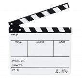 stock photo of clapper board  - Open film clapperboard - JPG