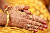 stock photo of mehendi  - The hands of a hindu bride decorated with mehendi - JPG