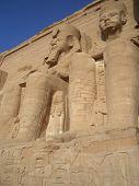 stock photo of aswan dam  - Statues of Ramses at Abu Simbel temple in Egypt - JPG