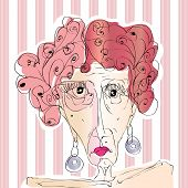 picture of moulin rouge  - hand drawn old woman portrait on striped background - JPG
