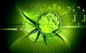 picture of polio  - Digital illustration of  Polio virus in colour  background - JPG