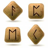 stock photo of rune  - Runes Engraved on Stone - JPG