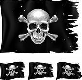 stock photo of skull crossbones flag  - Three types of pirate flag - JPG