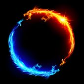 foto of fiery  - Ring of Blue and Red Fiery Dragons - JPG
