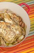 foto of dutch oven  - Roasted chicken with lemon and herbs - JPG