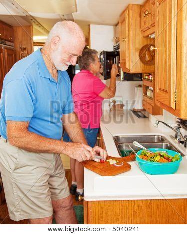 Rv Seniors Making Dinner