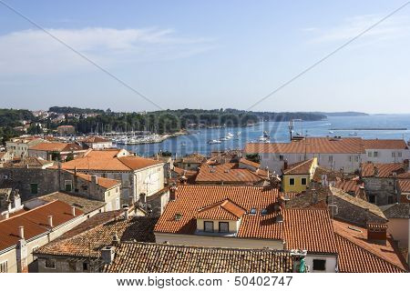 Panoramic View Of Down Town Porec From The Basilica Tower, Istra, Croatia