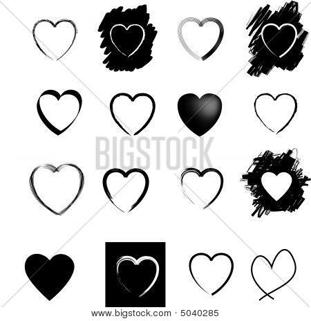 Heart Icons Black Set