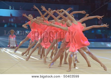 KIEV, UKRAINE - SEPTEMBER 1: Young gymnasts performs the routing during closing ceremony of the 32nd Rhythmic Gymnastics World Championships in Kiev, Ukraine on September 1, 2013