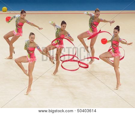 KIEV, UKRAINE - SEPTEMBER 1: Team Italy performs the routing with balls and ribbons during the 32nd Rhythmic Gymnastics World Championships in Kiev, Ukraine on September 1, 2013