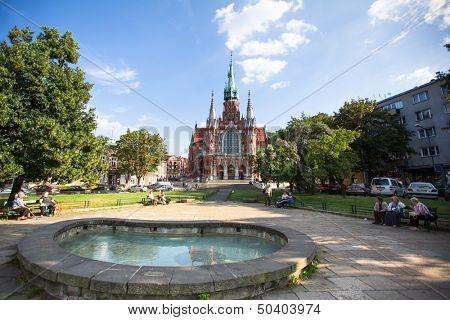 KRAKOW, POLAND - SEP 4: Church St Joseph - a historic Roman Catholic church in south-central part of Krakow, Sep 4, 2013 in Krakow, Poland. Was built 1905-1909 y and designed by Jana Sas-Zubrzyckiego.