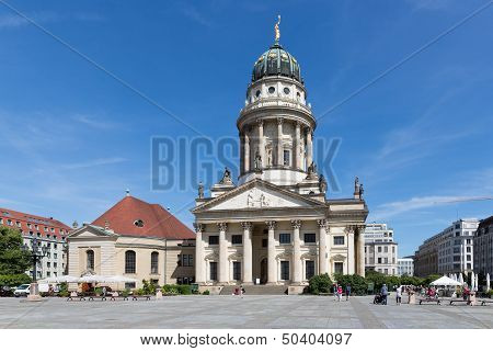 Berlin, Germany - July 24: Franzosische Dom And Church With Admiring Tourists At The Gendarmenmarkt