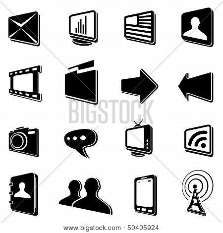 Black communication icons