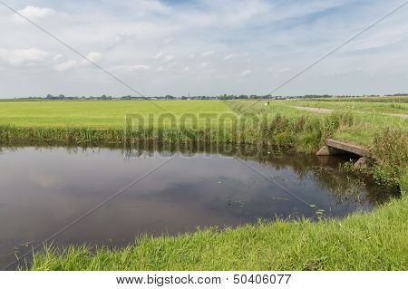 Dutch Countryside With Waterway And Concrete Culvert
