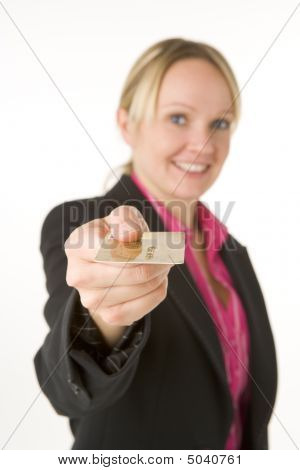 Businesswoman Holding Gold Credit Card
