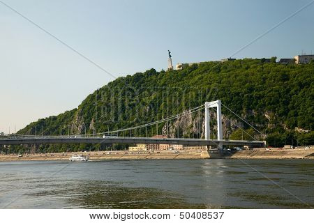 Budapest view with hill and bridge
