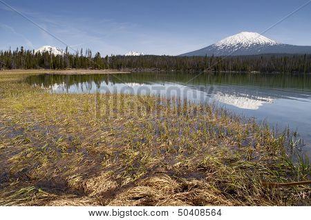 Saturated Color Lake Near Mt. Bachelor Oregon Cascade Range Horizontal