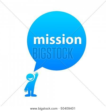 mission - the label template in speech bubble