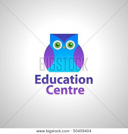 template sign for an educational center - owl - the symbol of wisdom and knowledge