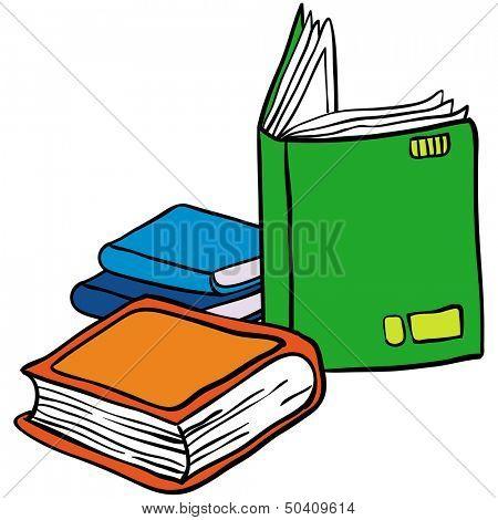 cartoon illustration of books