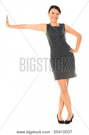 Business woman leaning imaginary wall - isolated over white