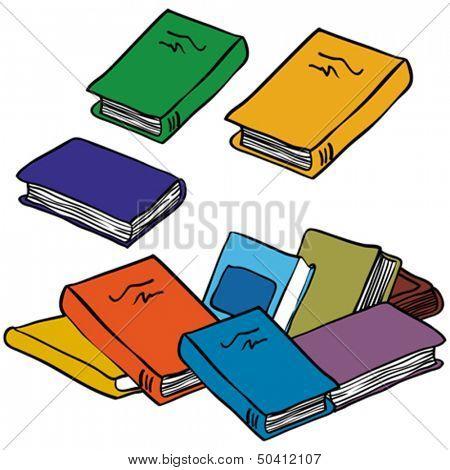 cartoon illustration of a pile of books
