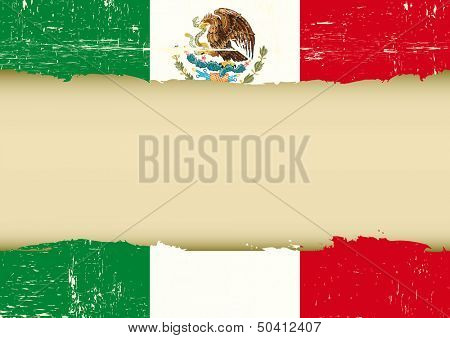 Mexican scratched flag. A used Flag for this poster