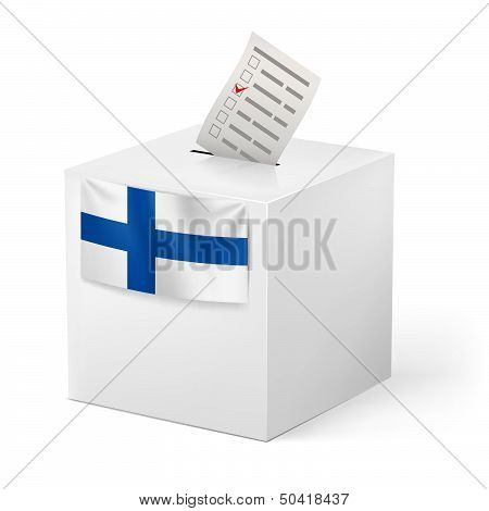 Ballot box with voicing paper. Finland.