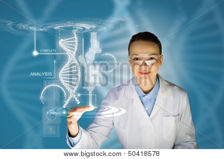 Woman scientist touching DNA molecule image at media screen