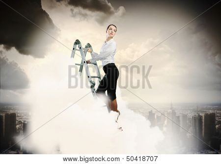 Image of young ambitious businesswoman climbing ladder. Promotion concept