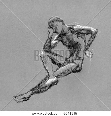 Sketch In Charcoal And Chalk Of Nude Man Body