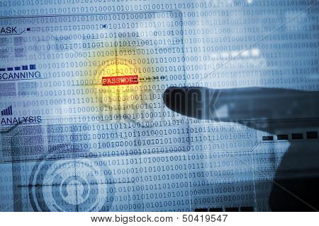 Computer concept with binary code. Security and password