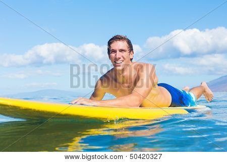 Attractive Man on Stand Up Paddle Board, SUP, Tropical Blue Ocean, Hawaii