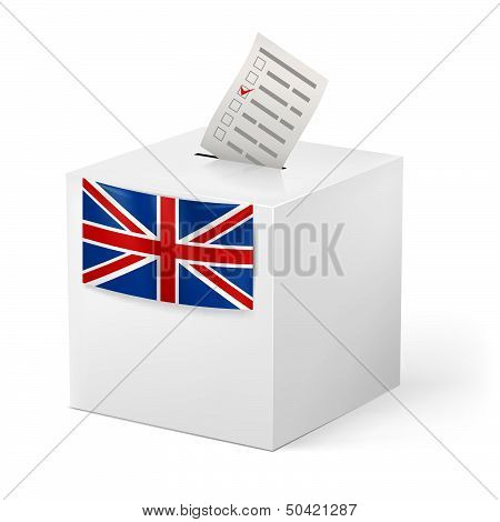 Ballot box with voicing paper. Great Britain.