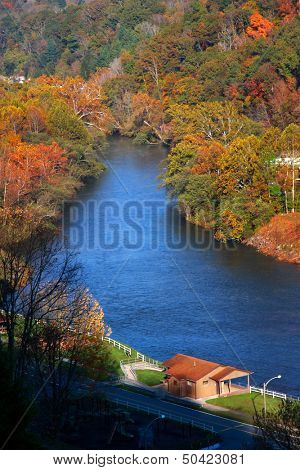 Beautiful river near Sutton West Virginia in autumn