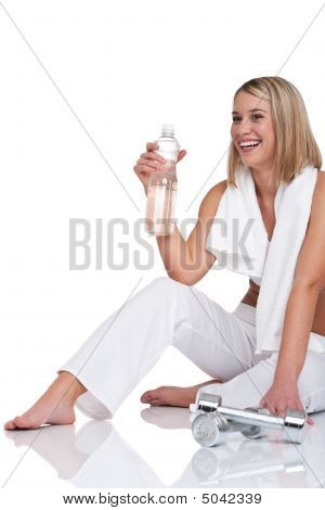 Fitness Series - Woman With Weights And Bottle Of Water