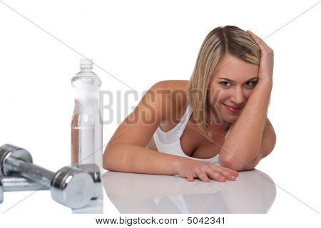 Fitness Series - Blond Woman With Bottle Of Water And Weights