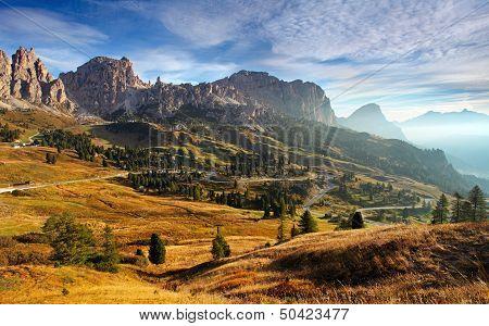 Italy Dolomites Moutnain At Sunrise - Road To Passo Gardena