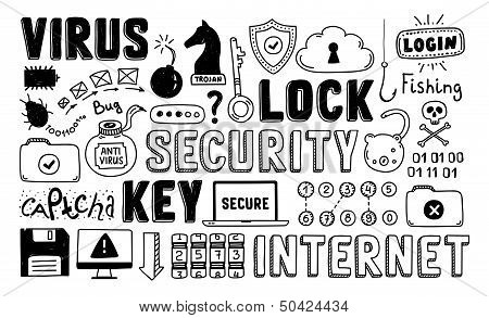 Internet Security Doodle Vector Set