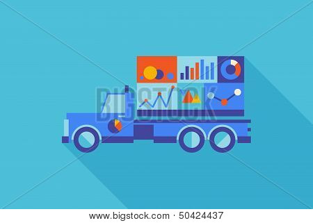 Advertising Truck With Statistics