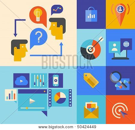 Website Marketing And Brainstorming Icons