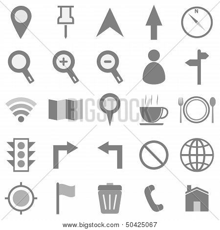 Map Icons On White Background