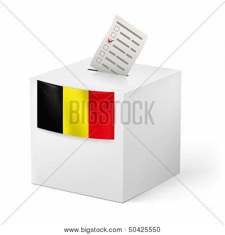 Ballot box with voicing paper. Belgium.