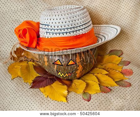 Pumpkin For Halloween In A Hat