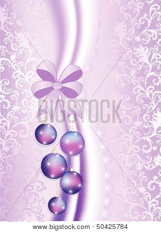 Christmas balls on the purple vintage background