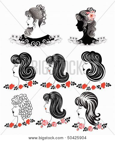 eight black and white silhouette of a womans  faces