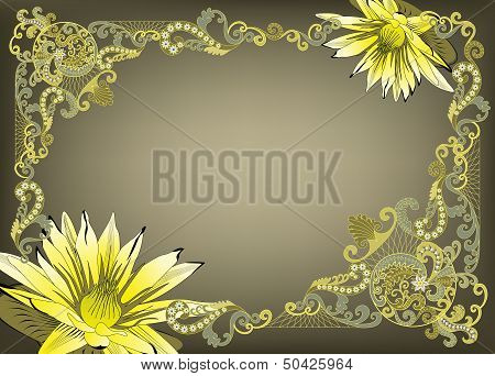 Frame In Vintage Style With Yellow Flowers